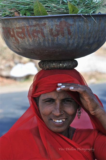Woman in red- en route to Jaipur